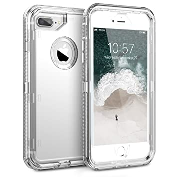 KOTPARX Funda para iPhone 6 Plus/6S Plus/7 Plus/8 Plus, Carcasa de Protección 360 Grados Transparente [Silicona Suave TPU + Rígido Duro PC] Antigolpes ...