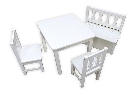 Dwa Kindertisch Stuhle Und Bank Aus Holz Fur Kinder Amazon De