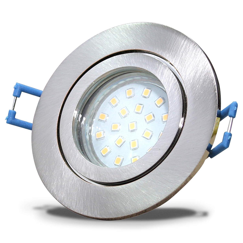 4 Stück IP44 SMD LED Bad Einbauleuchte Neptun 230 Volt 9Watt Rund Eisen geb.   Warmweiß