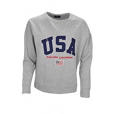 aace7803896 Ralph Lauren Sweat col Rond Gris USA pour Femme  Amazon.fr  Vêtements et  accessoires
