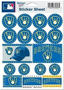 "MLB Milwaukee Brewers 27171012 Vinyl Sticker Sheet, 5"" x 7"""