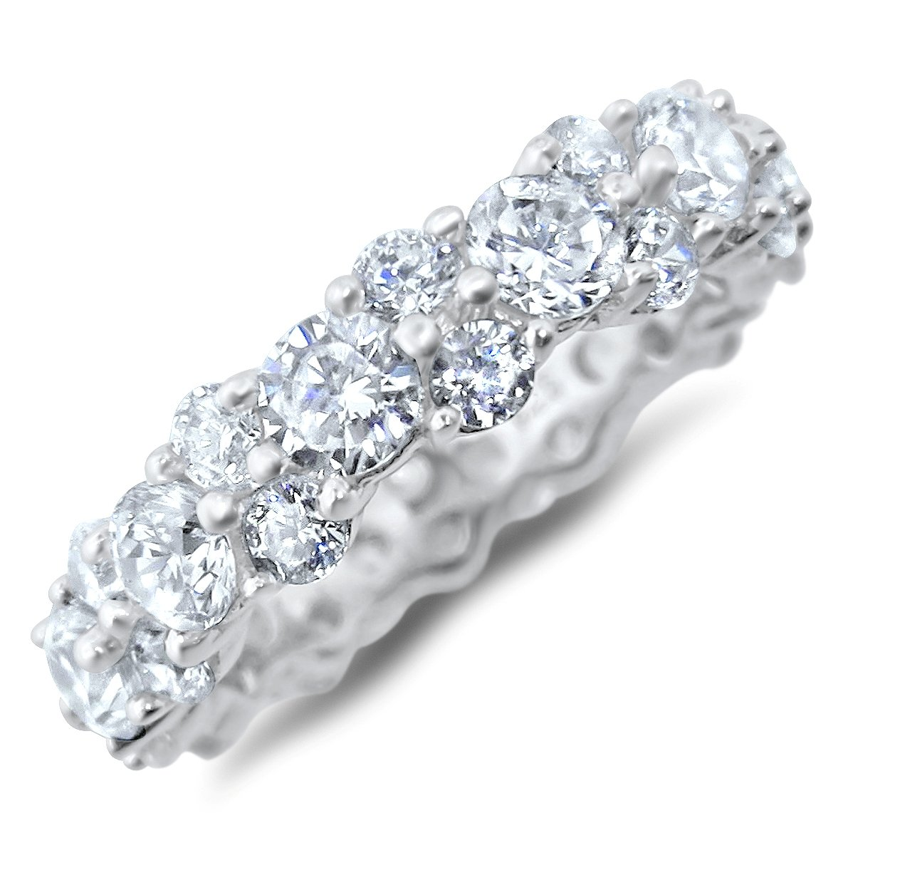 Vintage Style CZ Wedding Band Eternity Anniversary Ring for Women Size 5