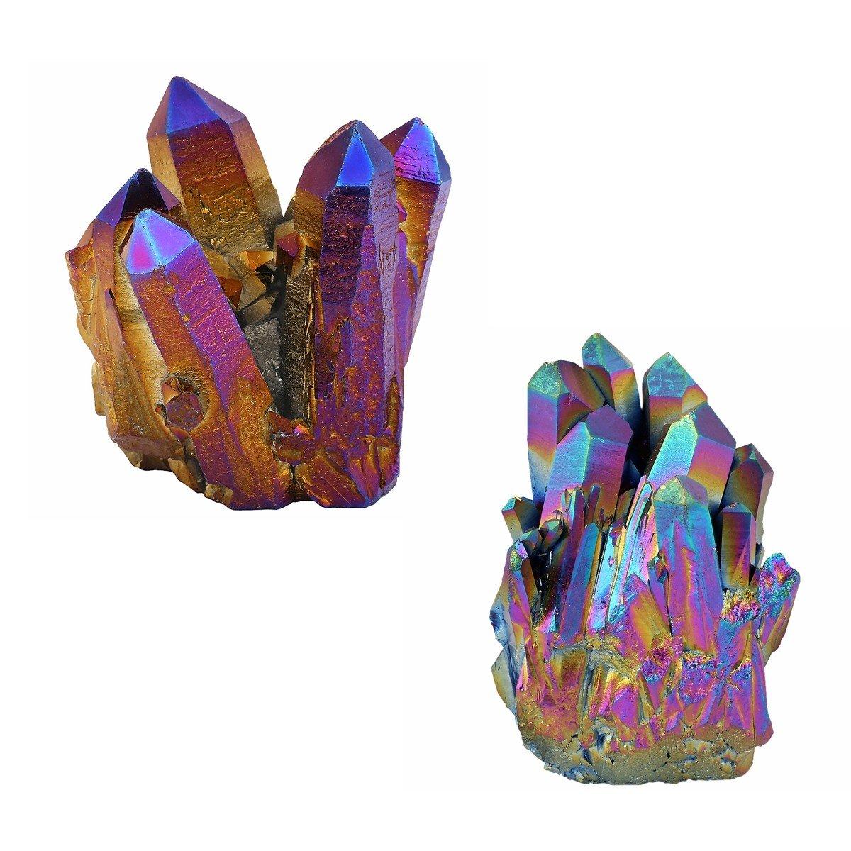mookaitedecor Energie pietre e cristalli géode DRUSE cristallo decoratif quarzo Irregulier per casa Decoration, Pietra, 01-arc en Ciel(30-60mm)