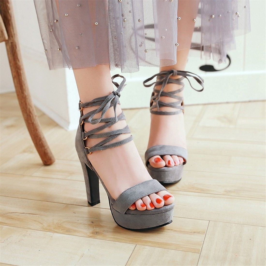 YU/&XIN-Spring and Autumn Womens Shoes Summer high-heeled fashion bold with Cross Strap package with slotted banquet sandals