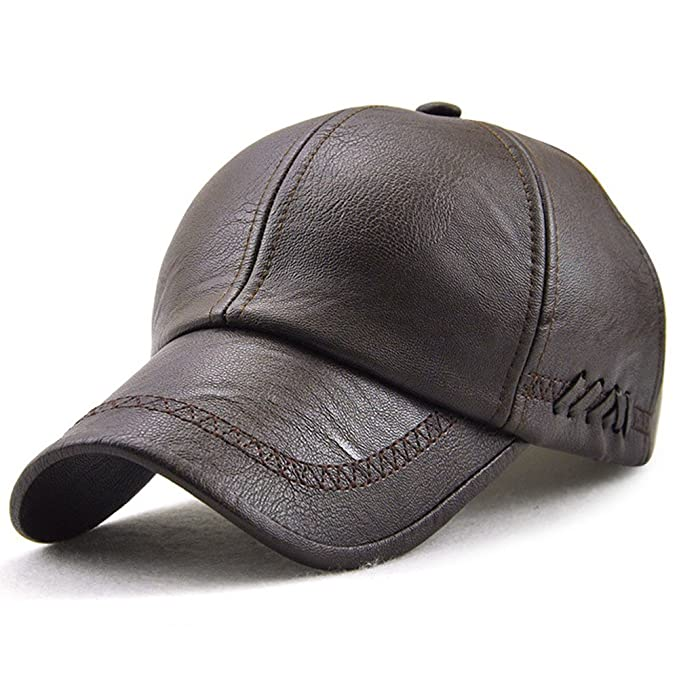 0d79dc3c418 Classic Plain Adjustable Leather Baseball Cap Sports Outdoor Panel Hat for Men  Women Dark Brown-