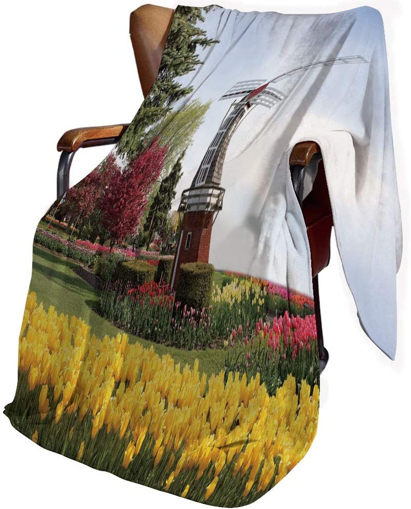 SfeatrutMAT Flannel Bed Blankets Lightweight Cozy,Windmill Decor,Serene Vast Traditional Garden with Blossoming Flowers Trees Dutch Tulips Decorative,Blanket for Couch Sofa Bedroom Kids 30x50inch