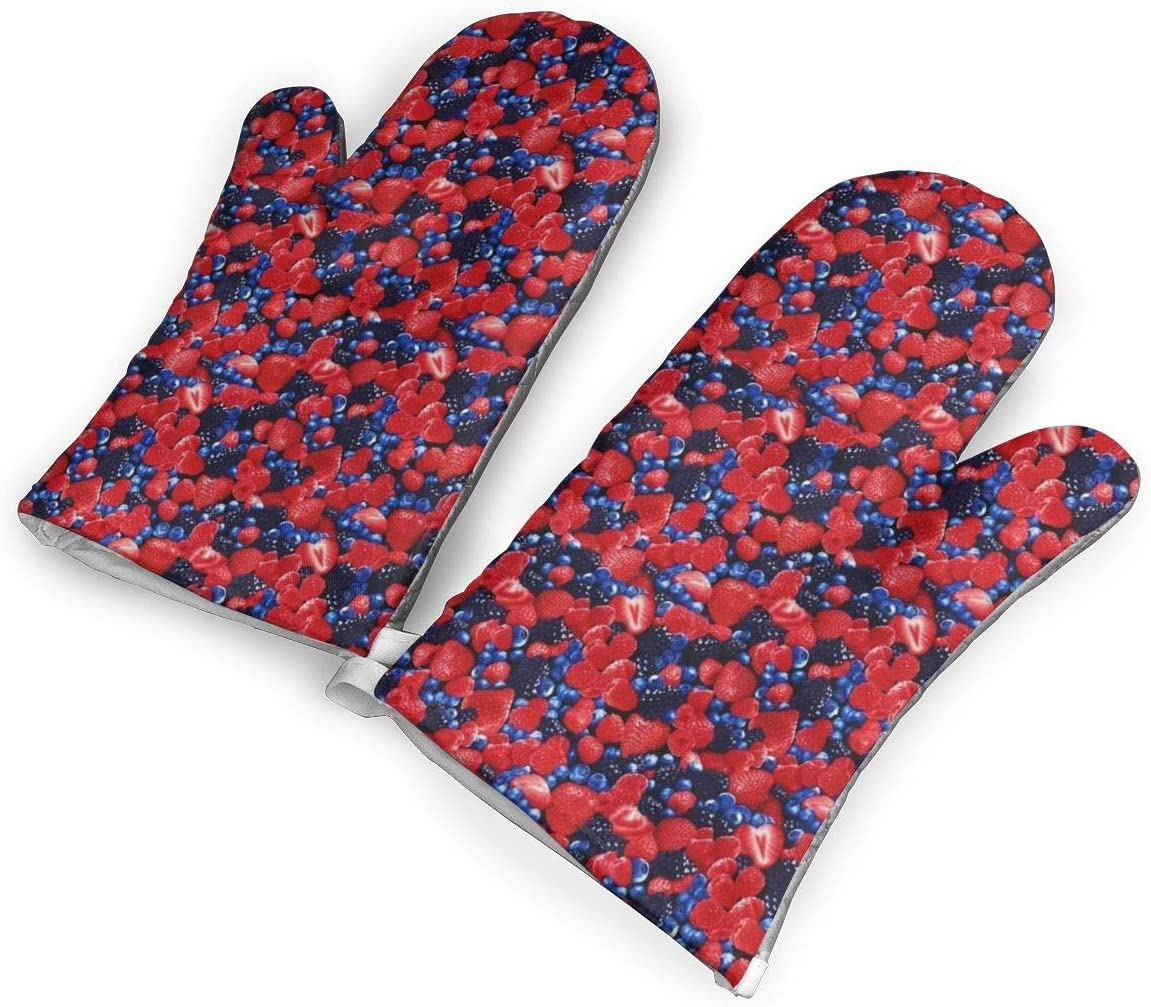 Victoria-Ai Blueberry Strawberry Oven Mitts Premium Heat Resistant Kitchen Gloves Non-Slip Easy to Use Baking Mittens for BBQ/Cooking/Grilling