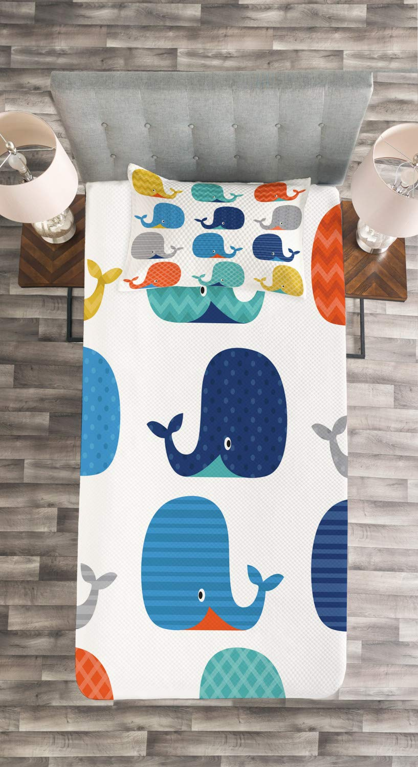 Decorative Quilted 2 Piece Coverlet Set with Pillow Sham Fish Sea Nautical Funny Colorful Whales in Stripes Dots Geometric Zig Zag Chevron Lunarable Nursery Bedspread Set Twin Size Multicolor bed/_13098/_twin