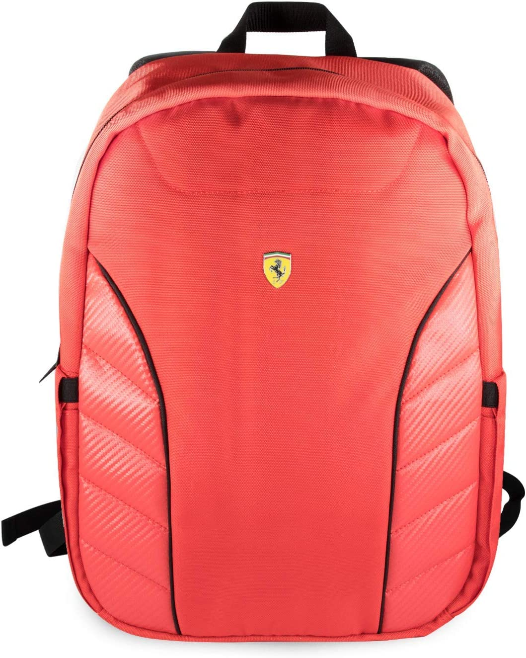 "Ferrari Computer Backpack Pit Stop Collection Scuderia 15"" Nylon PU Carbon Dual Compartment for 15.6"" MacBook Pro Bag and a Slim-Fit pocket for an iPad, iPad Mini, or tablet up to 10.1'' (Red)"