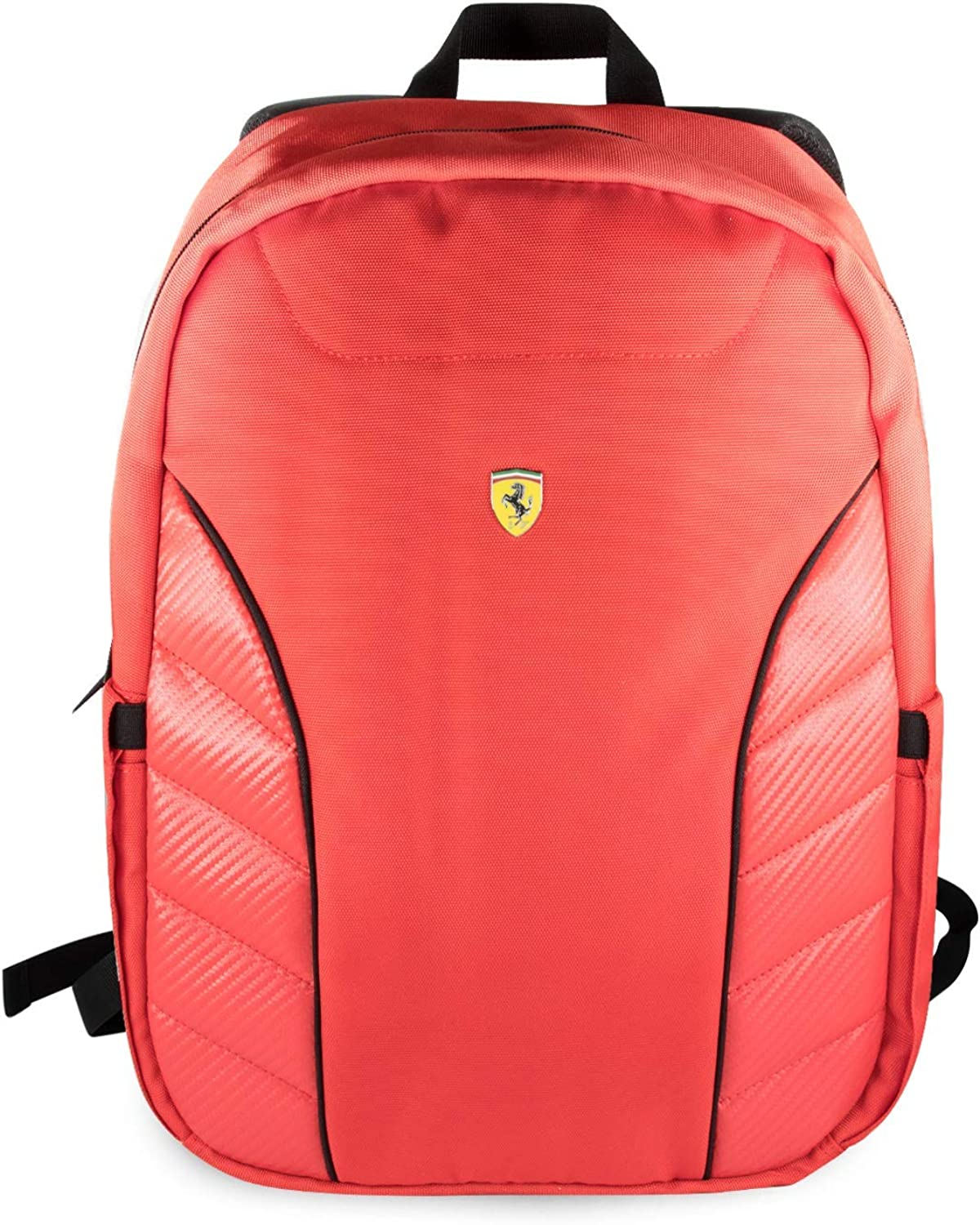 Amazon Com Ferrari Laptop Backpack 15 Nylon With Pu Carbon Leather Slim Fit Pockets Double Zipper Organizer 15 6 Macbook Pro Bag Computer Bags For Men And Women Red Shoes