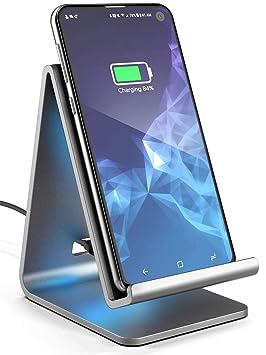 GALVANOX - Cargador inalámbrico para Samsung Galaxy S10 Plus (Aluminio Qi con adaptadores universales de Pared, Compatible con Todos los Modelos ...