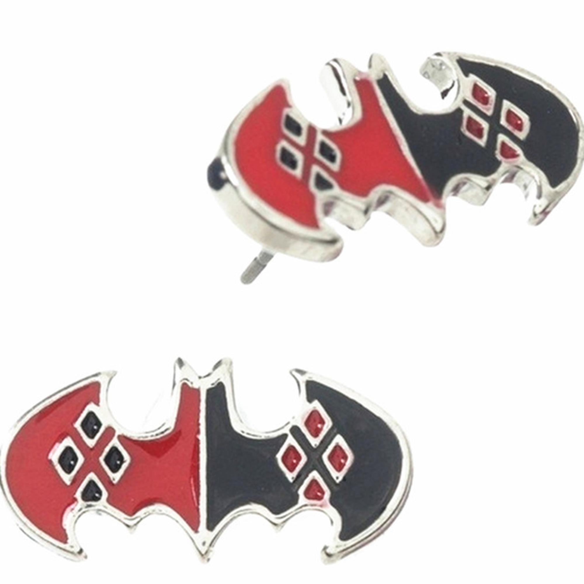 Outlander DC Harley Quinn Bat Symbol Logo Earring posts In Gift Box From