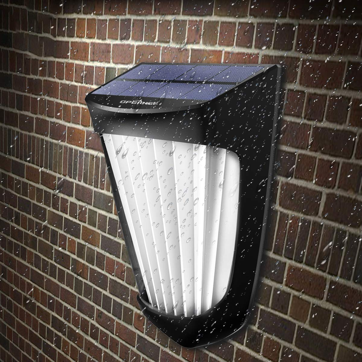 OPERNEE Solar Lights Outdoor, (2 Pack) Wireless 10 Led Solar Fence Lights Waterproof Auto ON/Off Wall Decorative Lights for Porch, Patio, Deck, Yard, Garden by OPERNEE (Image #2)