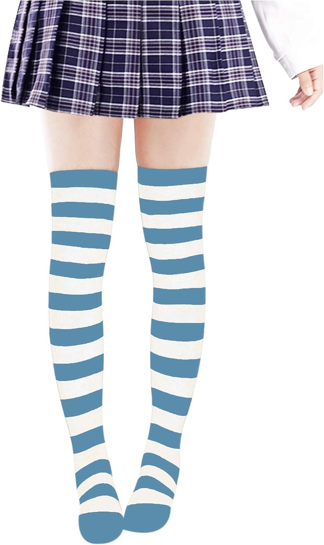 DAZCOS Striped Stockings Over Knee Thigh High Socks Anime Preppy Socks Multi color