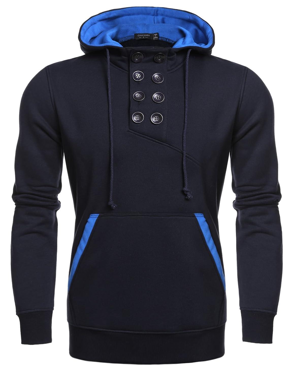 Coofandy Men's Fleece Casual Hoodies Button Pullover Hooded Sweatshirt