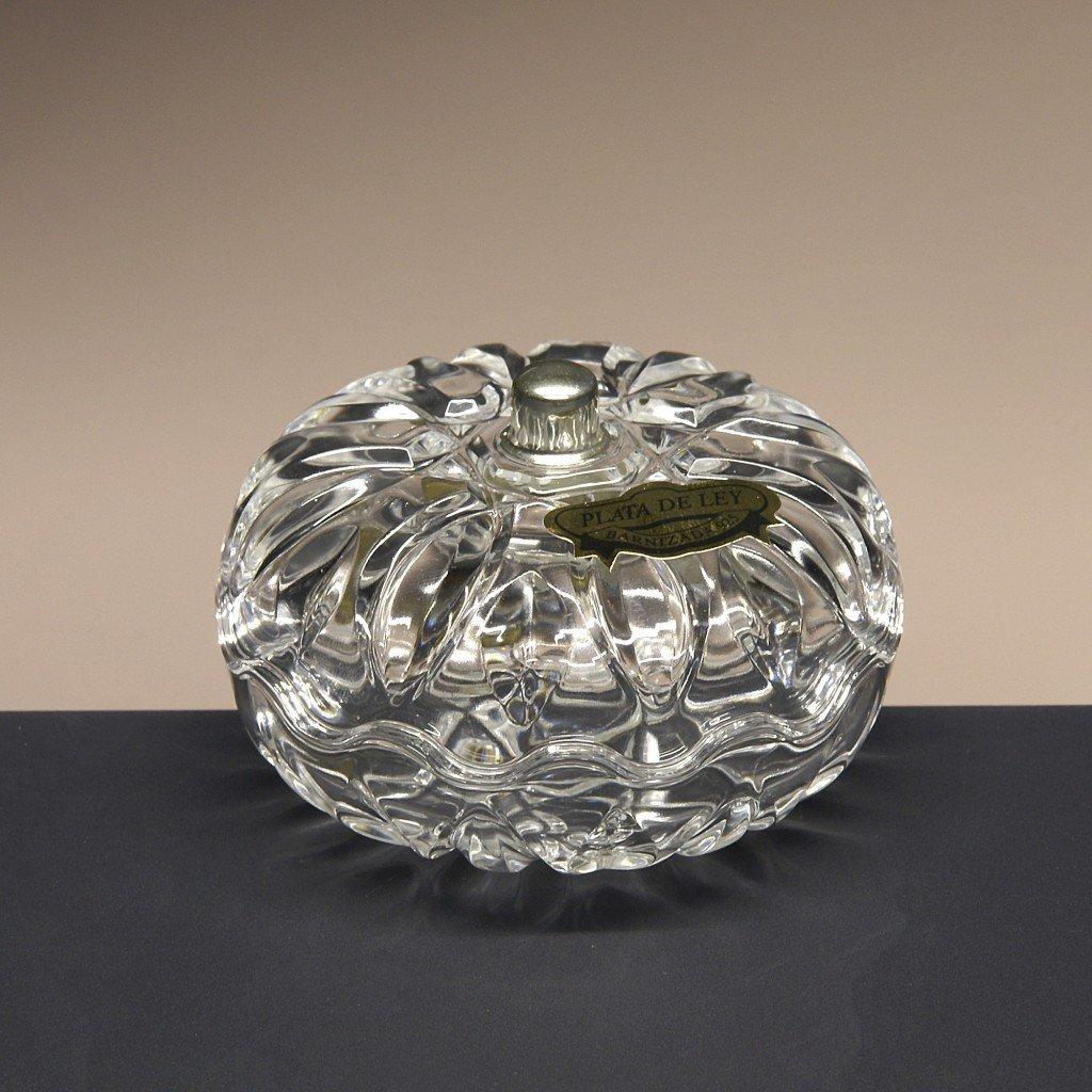 Bombonera de Cristal, Dulces, colección 9, pomo en Plata de Ley 925, 5,5 cm. de Altura. colección 9 la galaica
