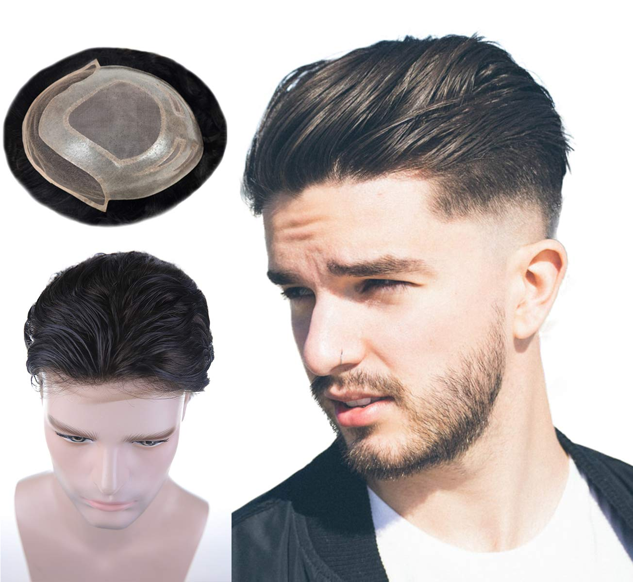 Human Hair Toupee for Men Mono Top with PU Skin around and Lace Front, LLWear 8x10 Inch Mens Hair Piece Replacement System Natural Wave Off Black(#1b) by LLWear