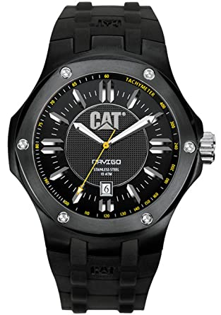 CAT Mens A116121121 Navigo Date Black Analog Dial with Black Rubber Strap Watch