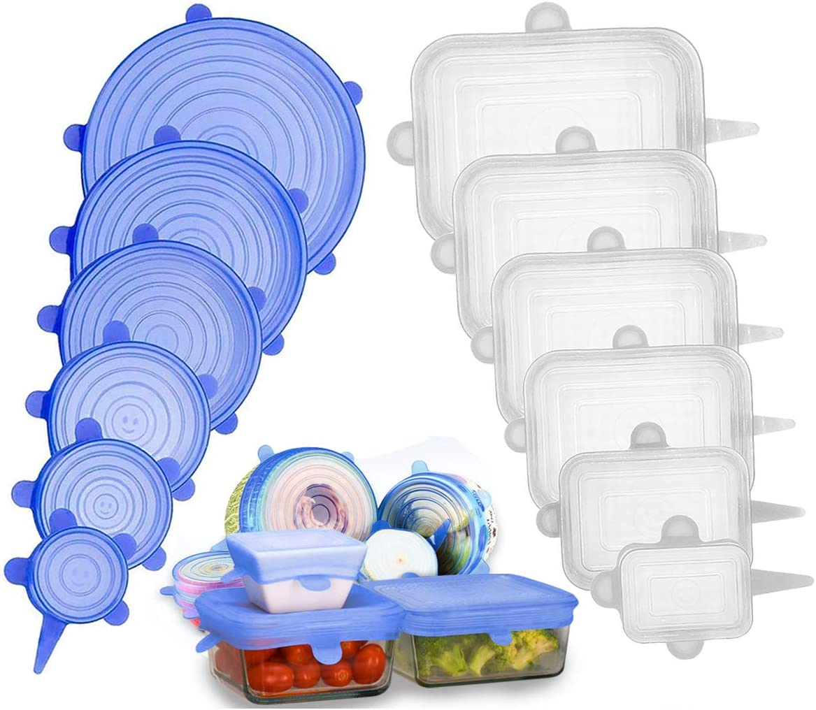 Adpartner Silicone Stretch Lids (12-Pack, Round & Rectangle), BPA-free Silicone Lids to Fit All Shape of Containers, Stretchable Food Covers Reusable Container Lids, Microwave and Dishwasher Safe