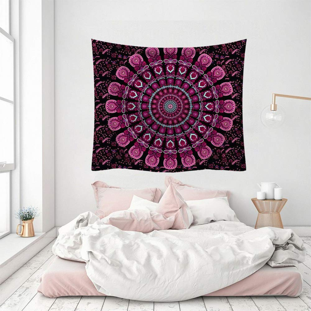 ETH Nordic hangcloth Decorative Tapestry Tapestry Beach Towel Tapestry fire Mandala Flower Blanket Durable (Size : 95x73CM)