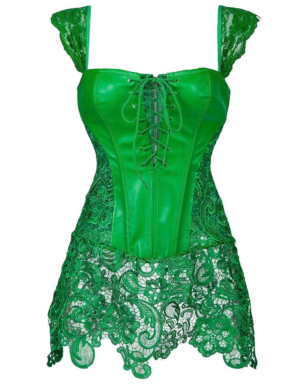 Beauty-You Damen Steampunk Korsett Kunstleder korsagenkleid Rock Kostüm (4XL/DE 44-46, Grün) Grün)