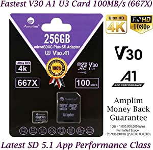 Amplim 256GB Micro SD Card Plus Adapter Pack Pro 256 GB MicroSD SDXC Card V30 U3 A1 C10 Extreme Speed 100MB/s UHS-I TF XC MicroSDXC Memory Card for Cell Phone, Nintendo, Galaxy, Fire, Gopro, DJI