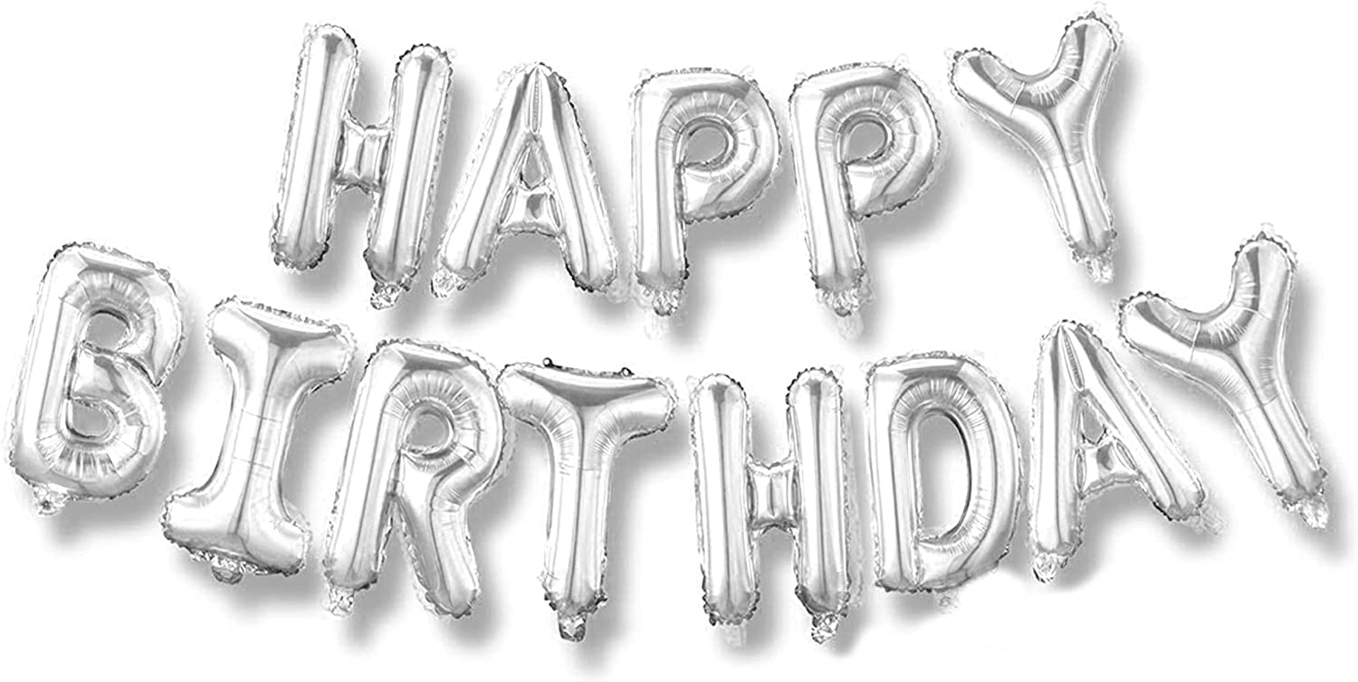 Happy Birthday Balloons Banner (3D Silver Lettering) Mylar Foil Letters | Inflatable Party Décor and Event Decorations for Kids and Adults | Reusable, Eco-Friendly Fun (Silver)