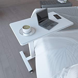 Homemark Overbed Table, Bed Desk Tray with Swivel Rolling Lockable Wheels, Height Adjustable Over Bedside Desks for Laptop, Reading, Writing and Eating Breakfast (Home, Office and Hospital Use)