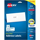 "Avery Easy Peel Address Labels, Inkjet Printers, White, 1"" x 2-5/8"", Box of 750 Labels (08160)"