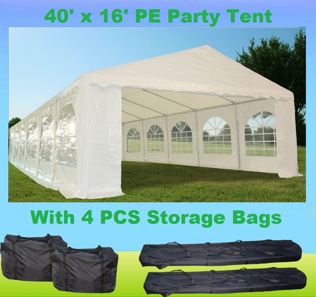 40'x16' PE Party Tent White - Heavy Duty Wedding Canopy Carport Shelter - with Storage Bags - By DELTA Canopies