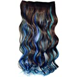 Stepupgirl 23 Inch Dark Brown Sky Blue and Sapphire 3 Mixed Color Curly Curl Wavy Full Head Clip in Hair Extension with Souvenir Card