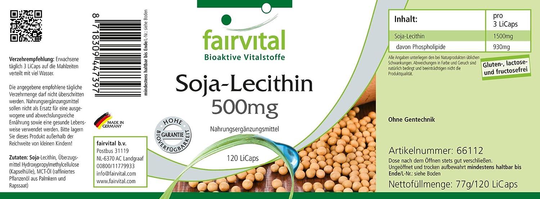 Lecitina de soja 500 mg - 40 días - VEGANO - Alta dosificación - 120 Licaps: Amazon.es: Salud y cuidado personal