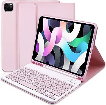 Funda Teclado para iPad Air 4ª generación y Soporte para Lápiz Apple Integrado, Funda Inteligente Delgada con Teclado Bluetooth Desmontable para iPad ...
