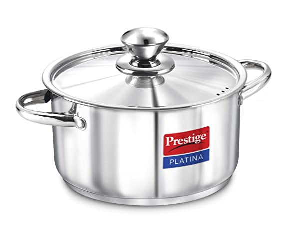 Prestige Platina Induction Base Stainless Steel Casserole, 180mm/2 Litres, Metallic Steel Braising Casseroles at amazon