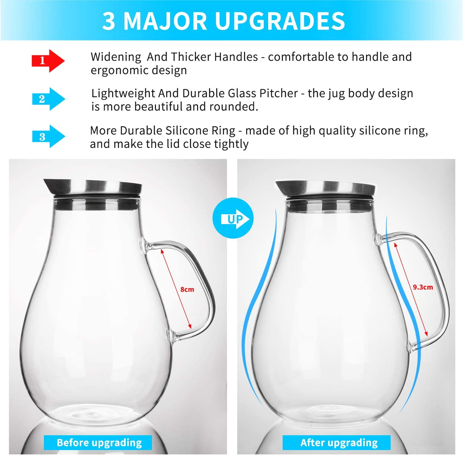 Water Jug Juice Pitcher for Hot//Cold Drink Water Pitcher Glass Carafe CNNIK 1200ml Glass Jug with 200ml Cup