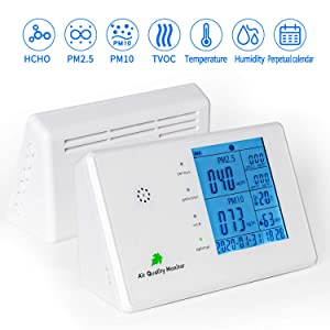 Indoor Air Quality Monitor,sherry air Quality Monitor for PM2.5/PM10 HCHO TVOC Temperature Humidity,air Monitor Formaldehyde Detector Radar Detectors