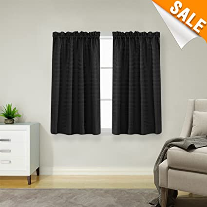 small window treatments small space lazzzy black small window curtain panels waffle weave textured room darkening café curtains waterproof kitchen amazoncom