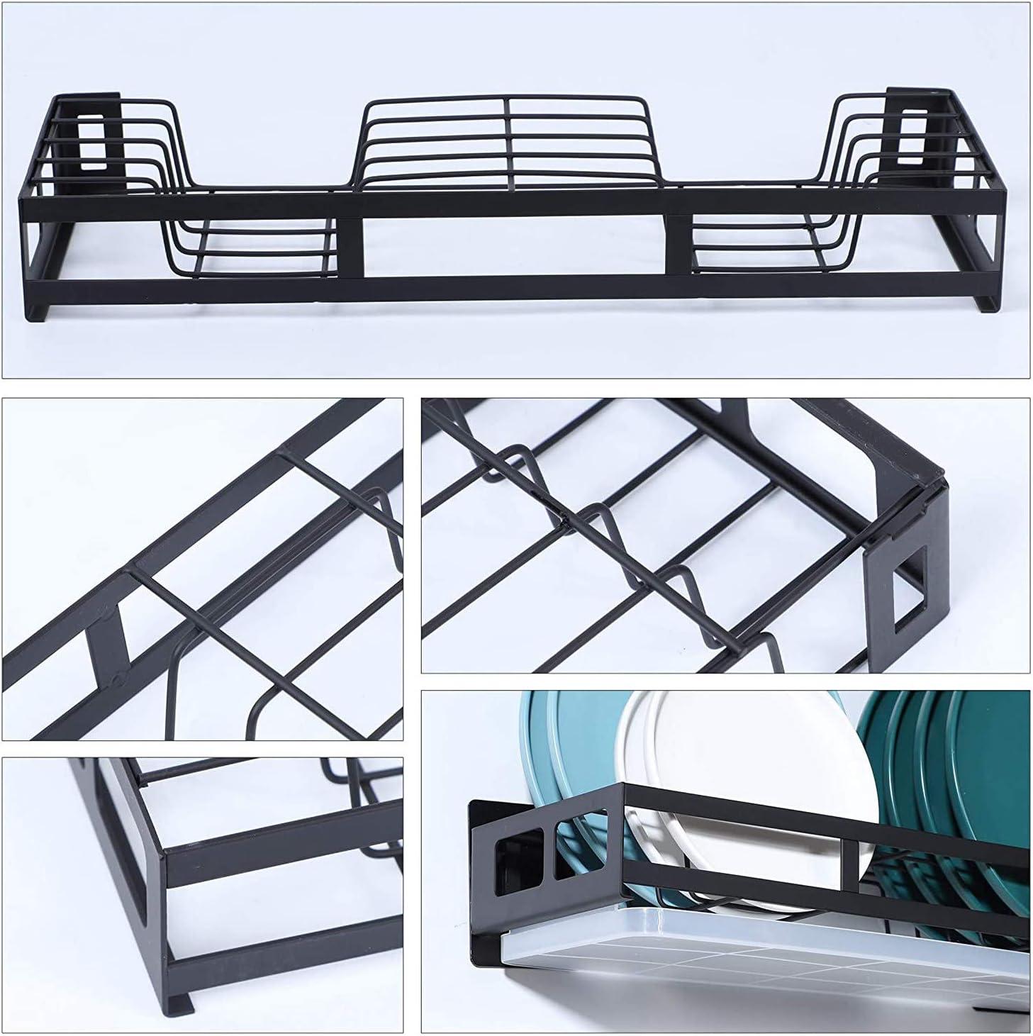 Fransande duradero estante de almacenamiento para platos con tabla de drenaje Escurreplatos para colgar en la pared con soporte para utensilios