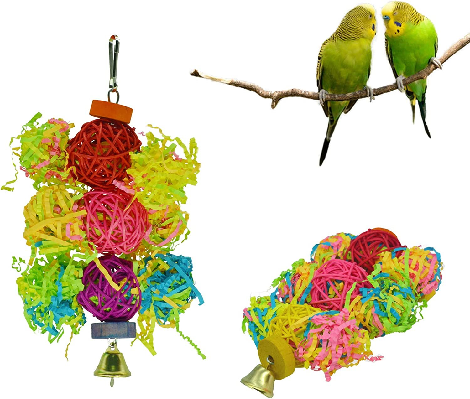 Eimoon Bird Toys Foraging Toys for Parrots 3 Pieces Hanging Parrot Toys Parakeet Toys with Bells for Cockatiel Cockatoo Budgies Lovebird Canary
