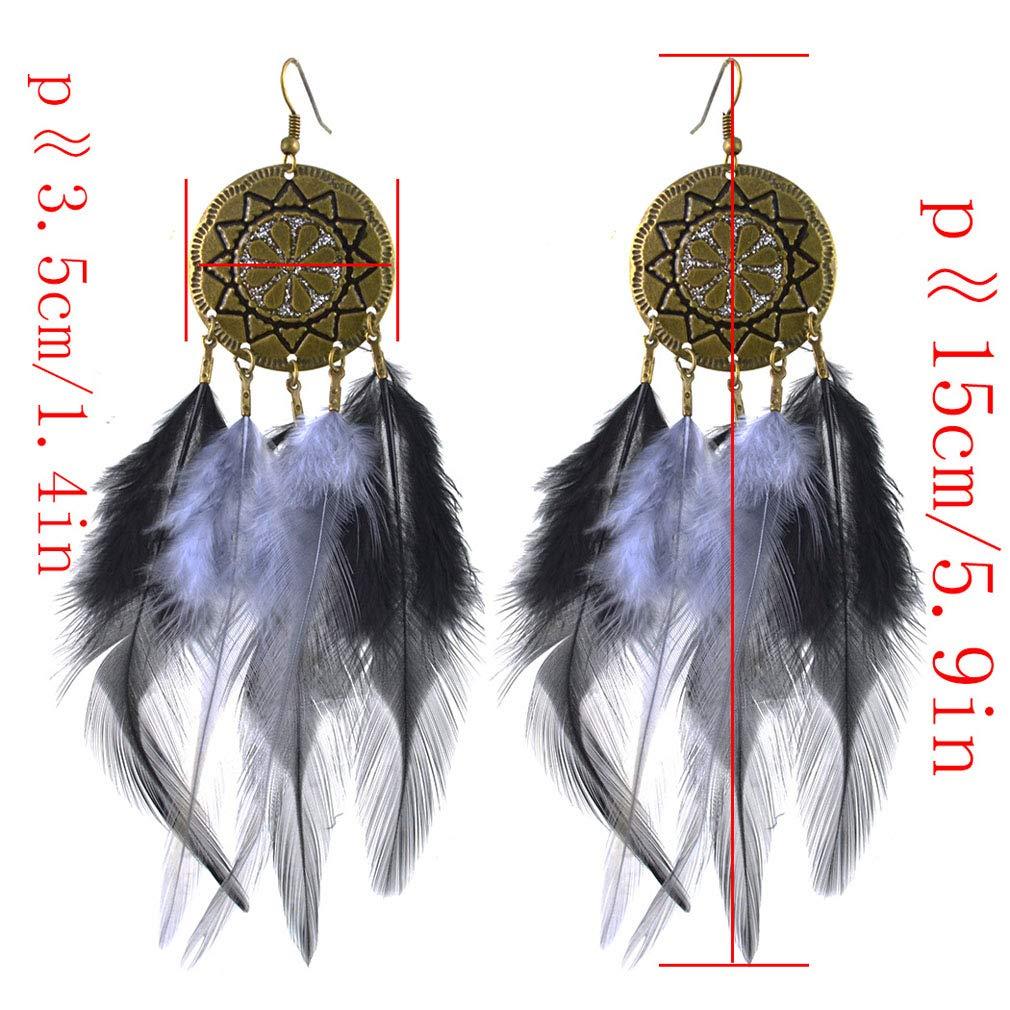 Jinxian Feather Drop Earrings Bohemian Boho Natural Hook Dangling Vintage Stainless Copper Plated Studs