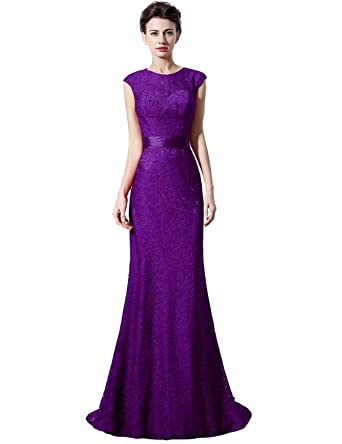 Favebridal Womens Fully Lace Mermaid Evening Party Dresses Beaded Prom Gowns LX018PL-US2