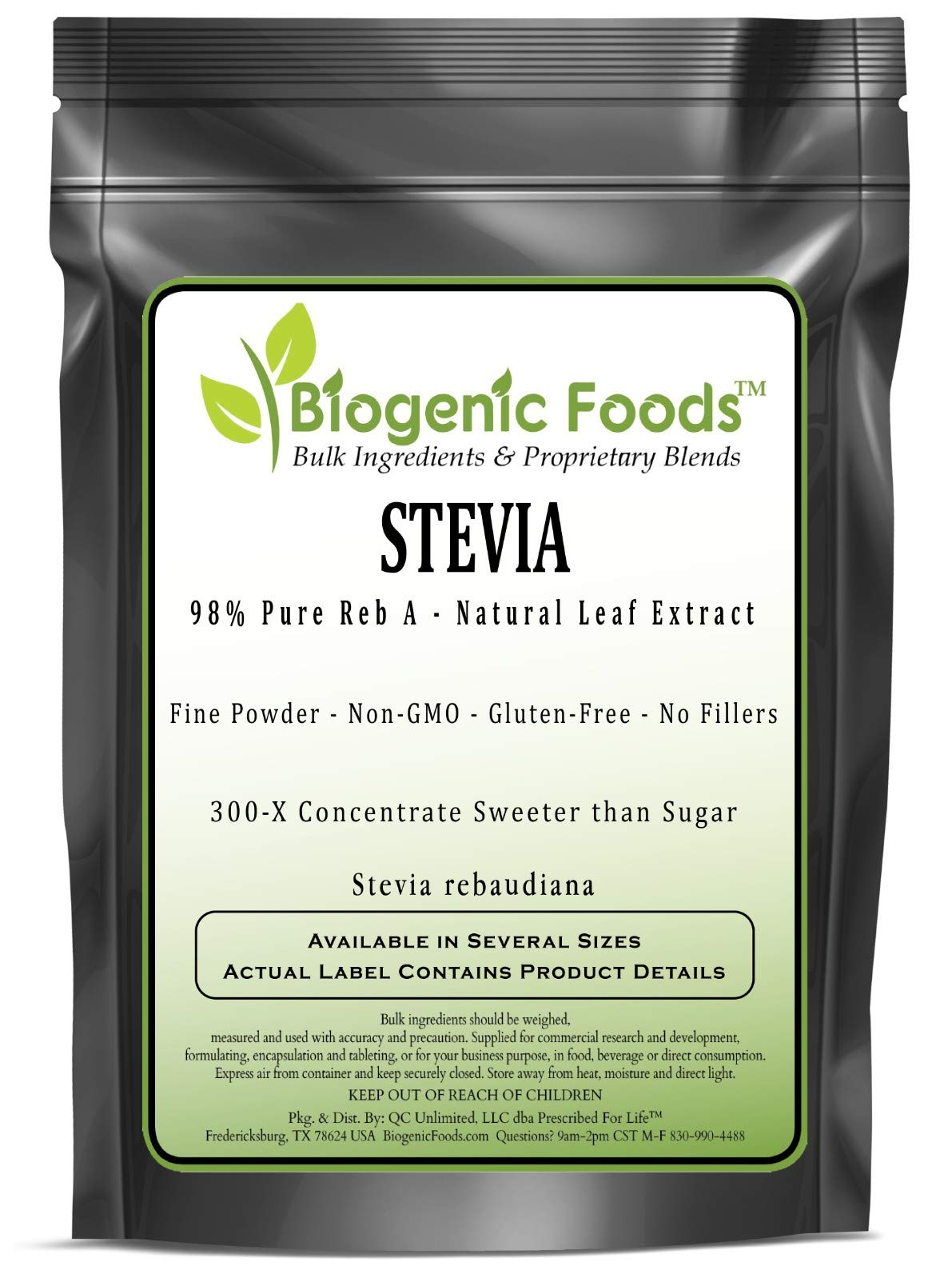 Stevia - 98% Pure Reb A - Natural Leaf Fine Powder Extract (Stevia rebaudiana), 10 kg