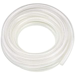 "1/4"" ID x 50 Ft High Pressure Braided Clear PVC Vinyl Tubing Flexible Vinyl Tube, Heavy Duty Reinforced Vinyl Hose Tubing, BPA Free and Non Toxic"