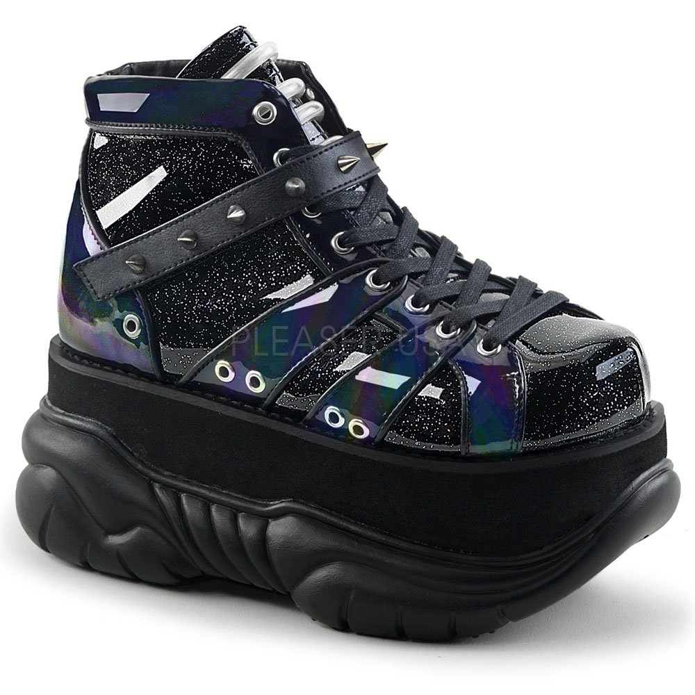 Demonia Unisex Boots Neptune-100 B074F47PG2 10 B(M) US|Blk Glitter-silver/Vegan Leather