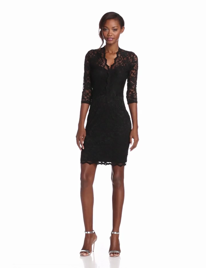 9761cb369ddbe Amazon.com  Karen Kane Women s V-Neck Lace Dress with Scalloped Trim   Clothing