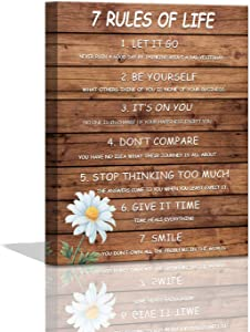 7 Rules of Life Motivational Wall Art for Man Office Wooden Planks Background Inspirational Canvas Wall Art for Bedroom Bathroom Dining Room Gallery Wrapped Positive Quotes Wall Decor Framed 12x16inch