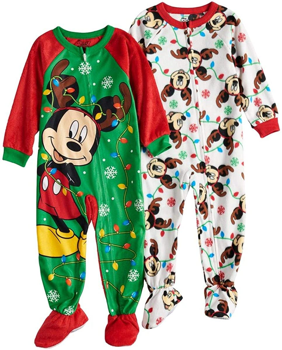 Mickey Mouse Disney Boys Holiday Footed Blanket Sleeper
