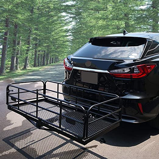 "500 Lbs Heavy Duty Hitch Mount Cargo Carrier 60"" X 24.4"" X 13.8"" Folding Cargo Rack Rear Luggage Basket Fits 2"" Receiver For Car Suv Camping Traveling by Oklead"