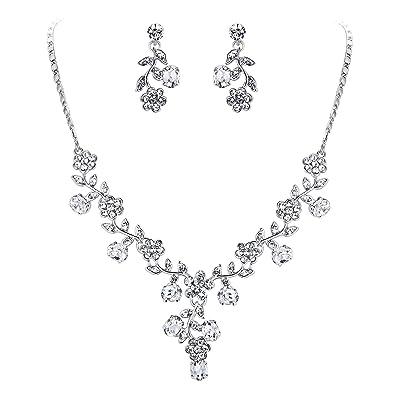 9fb7b43760ed EVER FAITH® österreichischen Kristall Blätter Blume Form elegant Braut  Halskette mit Ohrring Anhänger Schmuck-Set klar Silber-Ton N03848-1   Amazon.de  ...