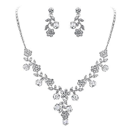 d0d1acea7a EVER FAITH Wedding Flower Leaf Necklace Earrings Set Austrian Crystal Silver-Tone  - Clear